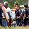 ROBBERY324.JPG Suspects in a robbery in Boulder are moved to police vehicles off Highway 36 between Broomfield and Denver Tuesday afternoon. <br /> Photo by Paul Aiken / The Camera / June 16 2009<br /> <br /> Photo Paul Aiken / The Camera / June 16, 2009