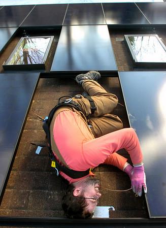 SOLAR.JPG SOLAR.jpg Sam Mason, of Namaste Solar, a local solar company, installs panels on the roof of the Imagine! SmartHome on Wednesday January 14, 2009.<br /> Photo by Paul Aiken