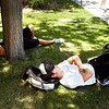 CAMPUS.jpg Incoming University of Colorado freshmen Craig Schultz, at left and Aaron Bonati find some cool shade on the Norlin Quad to catch some shut-eye during a break from their student  orientation on Tuesday July 14, 2009.<br /> Photo by Paul Aiken / The Boulder Camera