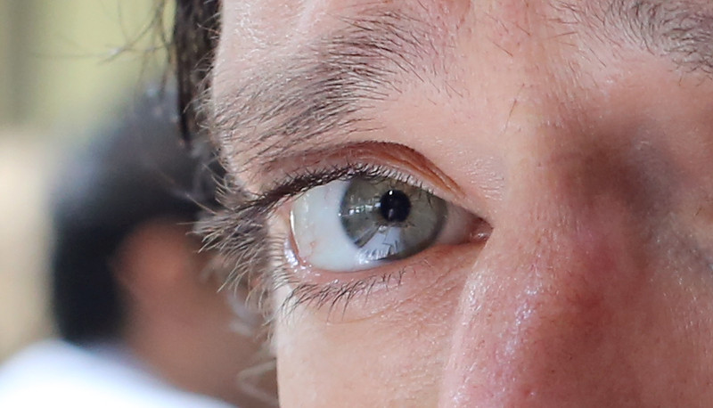 Unedited crop of Gabe's right eye. ISO 1000