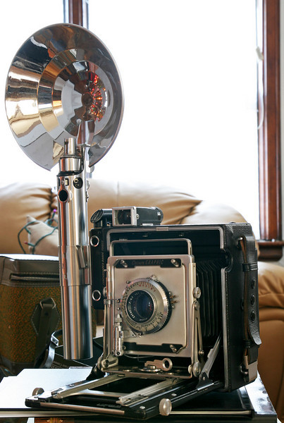 Crown Graphic 4x5 with flash unit attached