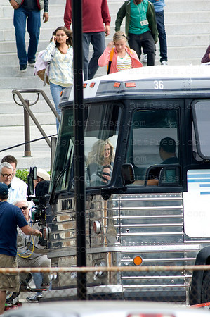 """Cameron Diaz with Justin Timberlake on the set of """"Bad Teacher"""" at the City Hall downtown Los Angeles."""