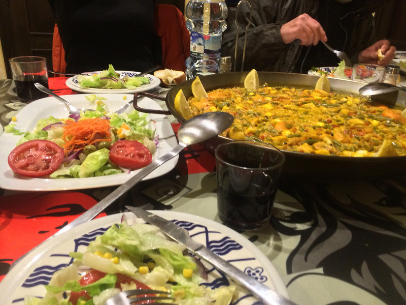 Dinner at our Casa Rural in Rabanal - Paella and Salad!
