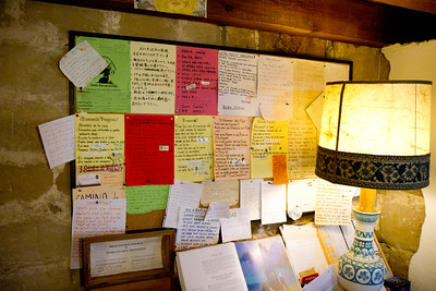 A colorful message board greets pilgrims at the parrochial albergue of Grañon.
