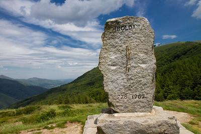 This monument to Roldán stands at Ibañeta, the high point of the Varcarlos route, before the steep descent to Roncesvalles.