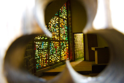 Peeking in the window of the church at Ibañeta, the high point of the Varcarlos route, before the steep descent to Roncesvalles.