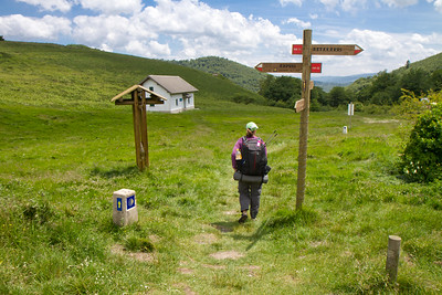 Anna Dintaman, author of Hiking the Camino, descends from Ibañeta on the way down to Roncesvalles.