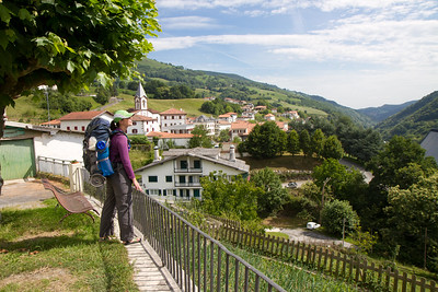 Author Anna Dintaman takes in the view of Varcarlos, Spain on the Varcarlos route through the Pyrenees between St-Jean-Pied-de-Port and Roncesvalles, Spain.