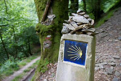 A weathered camino marker shows the symbol of the shell, on the climb to Ibañeta before Roncesvalles.