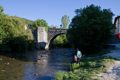 Puente de la Rabia, or Rabies bridge, entering the town of Zubiri on the Camino de Santiago.  This medieval bridge was rumored to prevent rabies if animals were lead across it three times.