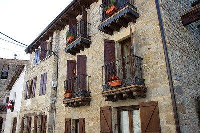A historic building in Larrasoaña, Spain, a popular stopping point on day 2 of the Camino de Santiago.