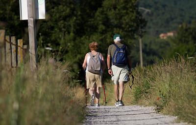 A pilgrim couple traverse the path to Larrosoaña on the Camino de Santiago.