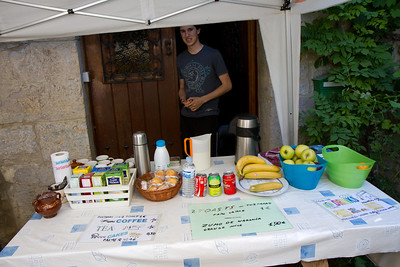 A roadside stand in Irotz, Spain offers refreshment to pilgrims on the Camino de Santiago.