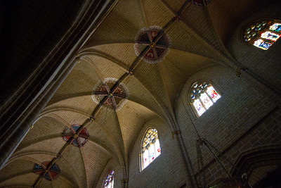 Vaulted ceilings at the Pamplona cathedral along the Camino de Santiago.