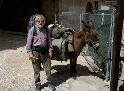 A pilgrim making the journey to Santiago along with his trusty donkey.