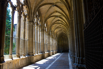 Light floods the cloister at Santa Maria la Real Cathedral in Pamplon, Spain on the Camino de Santiago.