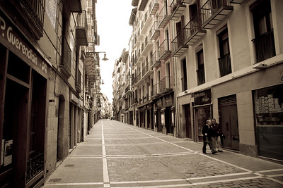 A typical street scene in Pamplona, Spain for pilgrims on the Camino de Santiago.
