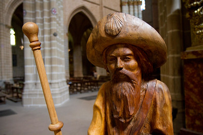 A wooden image of Santiago Peregrino (Saint James the pilgrim) with traditional traveler's hat and shell symbol adorn the Pamplona cathedral.