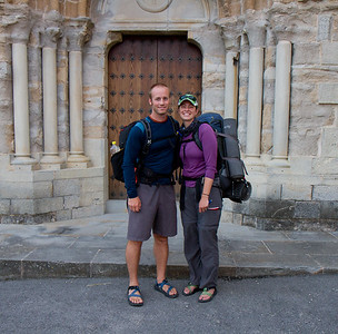 Authors David Landis and Anna Dintaman stand outside of the Order of Malta albergue in Cizur Menor after a good night's sleep.
