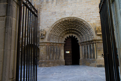 A Romanesque facade forms the doorway to the Church of Santiago in Puente la Reina, Spain, on the Camino de Santiago.