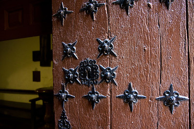 A traditional door in the town of Puente la Reina on the Camino de Santiago.