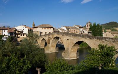 The famed bridge of Puente la Reina with graceful Romanesque architecture.