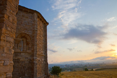 Sunrise from the Church of San Miguel in Cizur Menor on the Camino de Santiago.