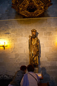 A golden statue of Saint James the pilgrim decorates the Church of Santiago in Puente la Reina on the Camino de Santiago.