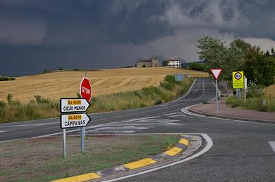 An impending storm over Cizur Menor on the Camino de Santiago.