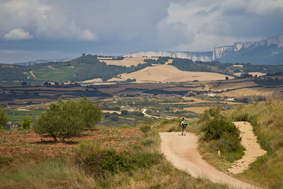 A hiker crests a small hill soon after Ciraiqui on the way to Estella.