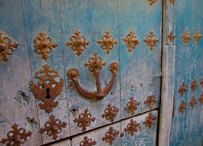 A traditional door in Mañeru, Spain along the Camino de Santiago.
