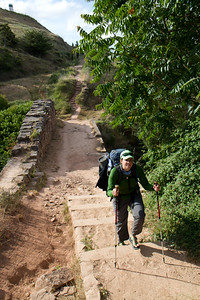 Much of the Camino de Santiago follows the Roman Via Trajana.   After the village of Ciraiqui, author Anna Dintaman crosses the impressive Roman bridge.