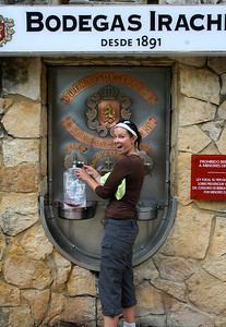 The free wine fountain provided by Bodegas Irache, a local winery, along the Camino de Santiago.