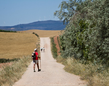 Pilgrims walk the beautiful but shadeless 11.5 kilometers from Villamajor de Monjardín to Los Arcos, one of the longest stretches of the Camino de Santiago without services.