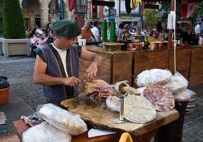 Fresh dried meats and cheeses are available in the Logroño open-air market.