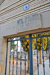 """A grave yard outside Los Arcos features the cryptics engraving """"Yo que fui lo que tu eres, tu serás lo que yo soi""""-- I was what you are, and you will be what I am."""