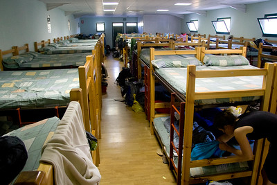 The municipal albergue in Nájera, with 90 beds in one room.