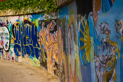 Colorful pilgrim graffiti on the outskirts of Logroño.