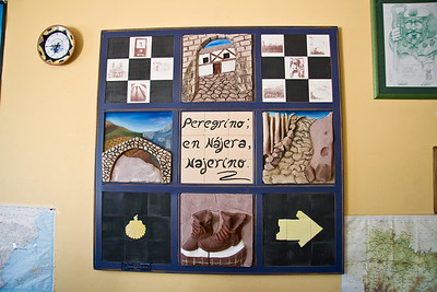 "Art on the wall of the Nájera albergue states ""Peregrino: en Nájera, Najerino"" (Pilgrim: In Nájera, [you are] a Najerino.)"