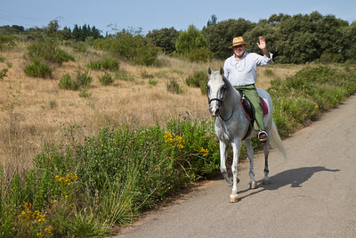 A local Spaniard waves as he rides his horse along the Camino de Santiago outside of Navarrete.