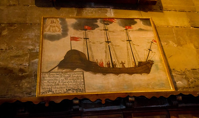 Art depicting a ship displayed in Iglesia de la Asunción in Navarrete, Spain.