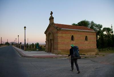 """Leaving Santo Domingo de la Calzada, pilgrims pass the Ermita de la Puente (""""Hermitage of the Bridge"""") before crossing the Río Oja."""