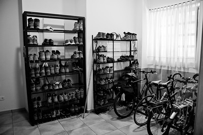Pilgrim boots and bikes stored in the albergue in Santo Domingo de la Calzada.