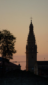 The tower of the cathedral of Santo Domingo de la Calzada at daybreak.