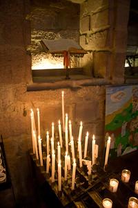 Inside the 14th century Gothic church, Notre-Dame-du-Bout-du-Pont, by the Porte d'Espagne in St-Jean-Pied-de-Port, France on the Camino de Santiago.