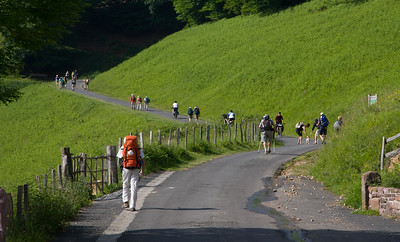 Pilgrims on the Camino de Santiago begin the ascent over the Pyrenees between St-Jean-Pied-de-Port and Roncesvalle.