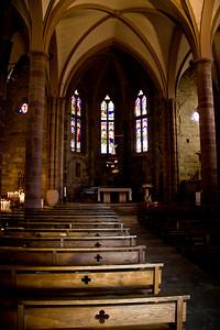 The 14th century Gothic church, Notre-Dame-du-Bout-du-Pont, by the Porte d'Espagne in St-Jean-Pied-de-Port, France on the Camino de Santiago.