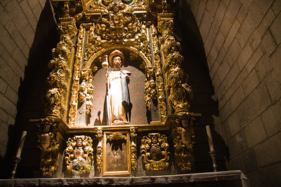 A statue of St James the Pilgrim inside the 14th century Gothic church, Notre-Dame-du-Bout-du-Pont, by the Porte d'Espagne in St-Jean-Pied-de-Port, France on the Camino de Santiago.