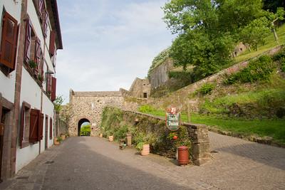The Porte Saint Jacques (St James' door) on Rue de la Citadelle in St-Jean-Pied-de-Port, France, the traditional starting place of the Camino de Santiago