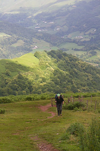 Crossing the Pyrenees on the first day of the Camino de Santiago.